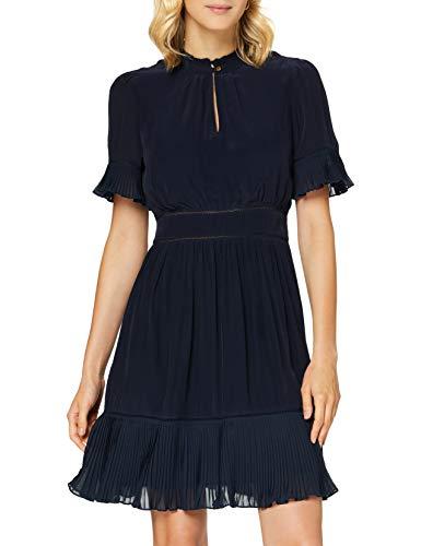 Scotch & Soda Maison Womens Feminine Viscose with Pleating Details Casual Dress, Night-0002, M