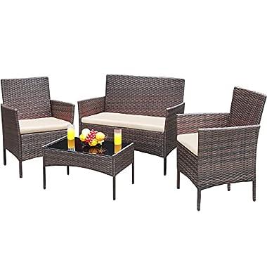 Greesum GS-4RCS8BG 4 Pieces Patio Outdoor Rattan, Wicker Chair Conversation, Garden Backyard Balcony Porch Poolside…