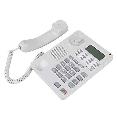 Bindpo Teléfono Fijo, Pantalla de identificación de Llamadas Teléfono Fijo DTMF/FSK Teléfono con Cable de Escritorio con Altavoz para Oficina, hogar