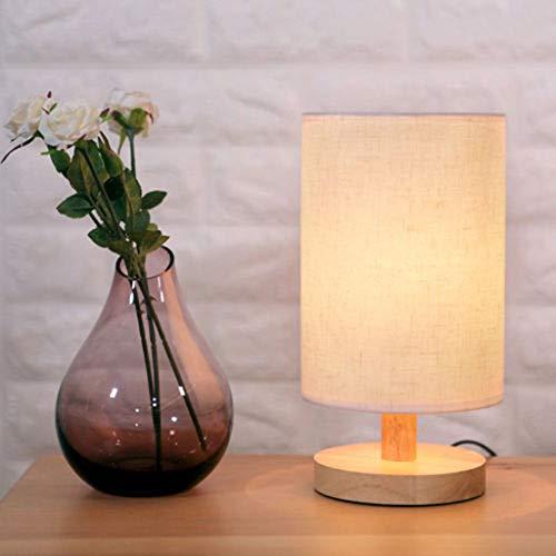 Wyxhkj LED Nachttischlampe, Nordic Massivholz Log Tischlampe Dimmbare Holz Nachttischlampe Minimalistische Neuheit Romantische Tischleuchten für Schlafzimmer Wohnzimmer Kinderzimmer Hotel Büro (Beige)