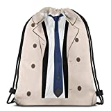 LREFON Bolsas con cordón para gimnasio, mochila, trajes de abrigo blanco, mochila para almacenamiento deportivo,...