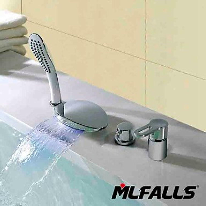 SHUILT Fashion four holes temperature LED waterfall chrome bathroom faucet