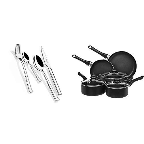 Monix Europa - Set de cubiertos 24 piezas de acero inoxidable con cuchillo chuletero, acabado pulido brillo. + Amazon Basics - Juego de utensilios de cocina antiadherentes, 8 piezas