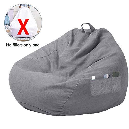 DWDMZ Großer Sitzsack/Sofa-Bezug ohne Füllung, mit DREI Seitentaschen für Erwachsene und Kinder, grau, L:100x120CM