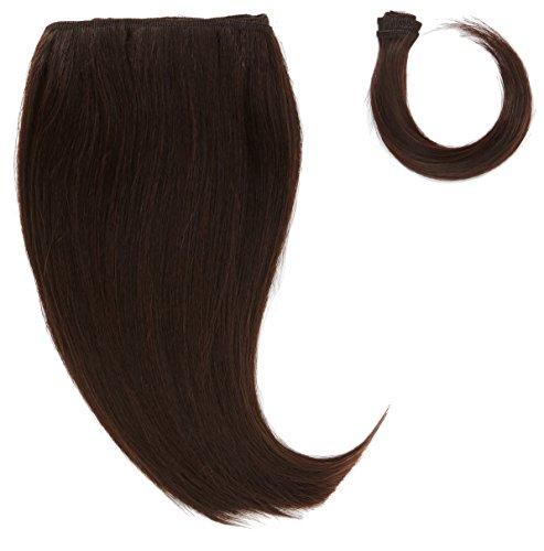 chear soyeux cheveux Yaki Raides trame Extension de cheveux humains avec de mélange tissage, numéro 2, marron foncé, 25 cm