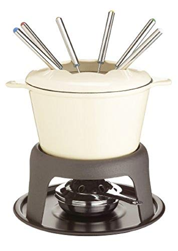 Kitchen Craft Set Regalo per Fonduta in Ghisa Smaltata, con Sei Forchette, Colore Crema