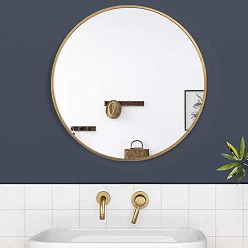 AUFHELLEN Rund Spiegel mit Golden Metallrahmen HD Wandspiegel aus Glas 40cm für Badzimmer, Ankleidezimmer oder Wohnzimmer Schminkspiegel (Golden, 40cm)