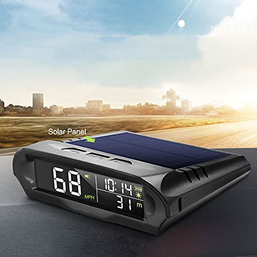 Universal Wireless Car HUD Head Up Display Digital GPS Speedometer MPH Solar / Battery / USB Charged with Time Clock Over Speed Alarm Fatigue Driving Alert Temperature Altitude