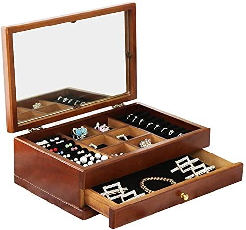 Caja de joyería de madera, espejo súper grande, caja de joyería retro, se puede poner en joyas, pendientes, pulseras, adecuado para mujeres.