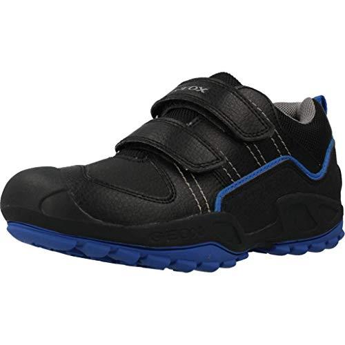 Geox Niños Zapatillas New Savage Boy,Chico Bajo,Zapato bajo,Calzado Deportivo,Cierre de Velcro,Removable Insole,Black/Royal,31 EU/12.5 UK Child