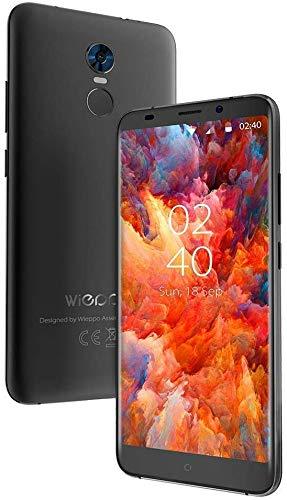 """4G Android Handy Ohne Vertrag Günstig Neu 5.7\"""" 2GB+16GB, 18:9, Dual SIM Smartphone Ohne Vertrag Android 7.0 Kamera 5MP+13MP, HD 1440 * 720, 2970mAh, Fingerabdruck, Wieppo S8 Schwarz"""