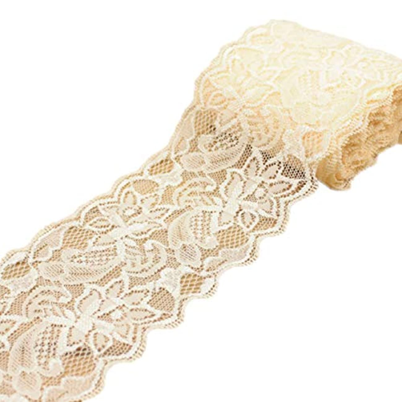 Mesyo Lace Ribbon for Crafts 5 Yards Floral Fabric Lace Trim for Wedding Invitation Decorating Gift Package Wrapping 3.1 Inch Wide Light Champagne