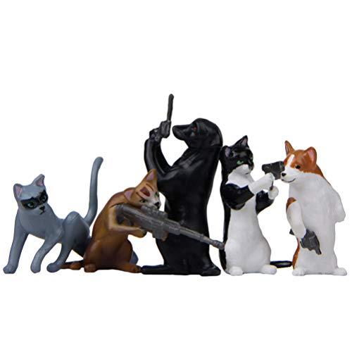 BESPORTBLE - Set di 5 statuine a Forma di Gatto, con Numeri di Cani, in Miniatura, Animali, per Decorare Torte