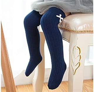 Lovely Socks 6 Pairs Girls Children Cotton Socks Kids Spring and Autumn Cotton Bow Long Tube Socks (Black) Newborn Sock (Color : Navy)