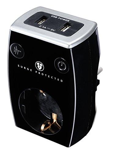 Masterplug SRGAUSBPB/G-MP Ladegerät, max. 2.1A, 2X USB Port + SCHUKO Steckdose mit Überspannungsschutz und Kindersicherung, 3680 W, 250 V, schwarz, 2-Fach