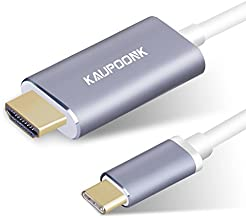 KAUPOONK USB C to HDMI Cable, USB Type C to HDMI Adapter Compatible with Samsung Galaxy S8 S9 S10 S20 Note9 MacBook iMac Chromebook Media with 4k@30Hz,Thunderbolt 3 Dual Displays Support -Gray