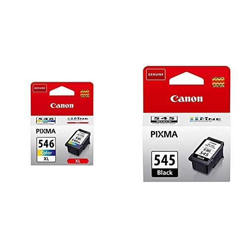 Canon CL-546XL Cartucho de tinta original Tricolor XL + PG-545 Cartucho de tinta original Negro para Impresora de Inyeccion de tinta Pixma