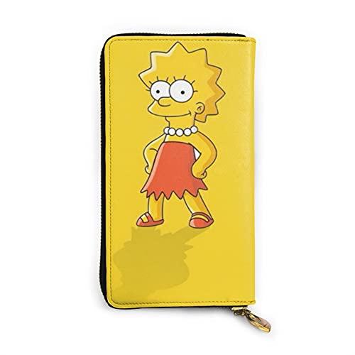 Simpsons - Cartera de piel con cremallera para personalización personalizada, gran capacidad, resistente y duradero