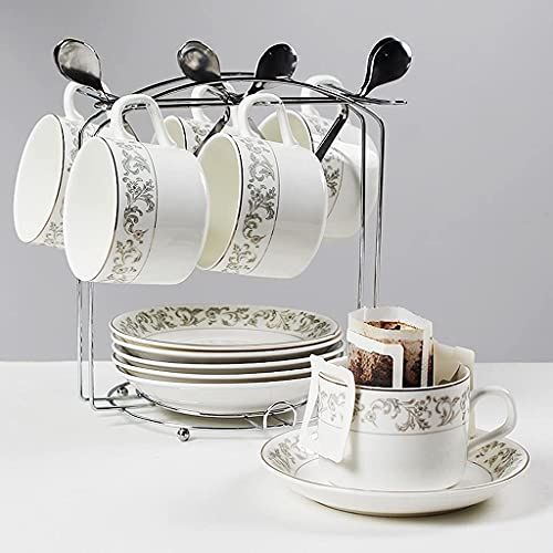 Juego de Tazas y platillos de té y café de cerámica Europeos de 12 Piezas con 6 cucharas y 1 Soporte, para el hogar, restaurantes para Amigos, Blanco 150 ml / 5.3 oz