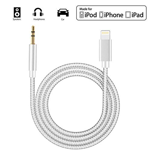 Cavo Aux per iPhone Cavo audio auto Jack da 3,5 mm ausiliario Premium per iPhone 11/11 Pro/X/XR/XS/8Plus Da maschio a maschio cuffie Accessori Altoparlante stereo Connettore Tessitura-Bianco 3Ft/1M