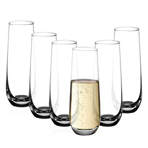 Amisglass Sektgläser Set, 6 stück, 300ml Champagner Gläser, klares Kristallglas, kristallklare Klarheit, Bleifrei & Hochwertig