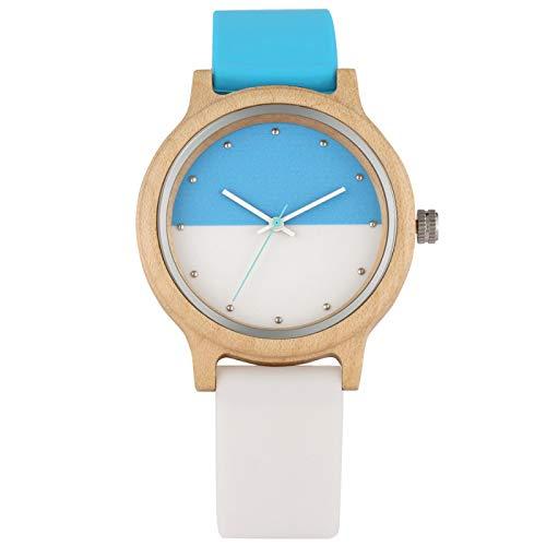 Relojes de Cuero de Madera de Arce para Mujer, Elegante Mezcla de Colores Dobles, Esfera Redonda, Reloj de Pulsera de Cuarzo para Mujer, Azul, Blanco