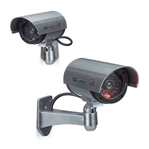 Relaxdays 2 x Dummy Kamera im Sicherheits Set, CCD Kamera mit LED, schwenkbare Sicherheitskamera, für außen und innen, drahtlos