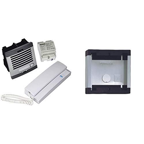 Fermax 6201 - Kit portero automático, 1 línea, color gris y negro + 8951 Accesorio de superficie para telefonillo