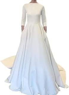 Best satin boat neck wedding dress Reviews