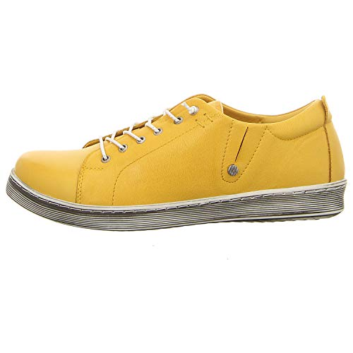 Andrea Conti 0347891 Damen Halbschuhe Sneaker Schnürschuhe Leder, Schuhgröße:39 EU, Farbe:Gelb