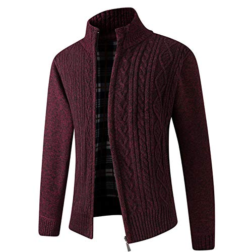 WLZQ Mens Thick Knit Sweater Sweater Autumn and Winter Stand-up Collar Plus Velvet Sweater European Code Cardigan Mens Knitted Jacket Jacket Wine Red