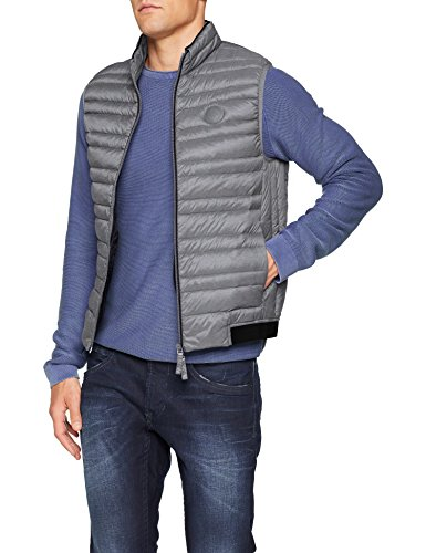 Armani Exchange Herren Puffer Jacket Gilet Outdoor Weste, Grau (Htr Grey/Navy 0902), Small (Herstellergröße: S)