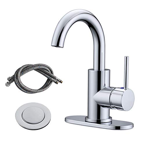 RKF Single-Handle Swivel Spout Bathroom Sink Faucet with Pop-up Drain with Overflow and Supply Hose,Bar Sink Faucet,Small Kitchen Faucet Tap,Chrome Polished,BF3501P-CP2