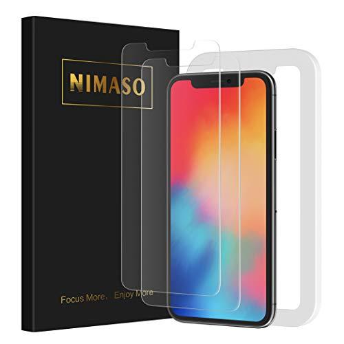 Nimaso【2枚セット】iPhone11 Pro/iPhoneX/Xs(5.8インチ)用 液晶保護ガラスフィルム【ガイド枠付き】(ア...