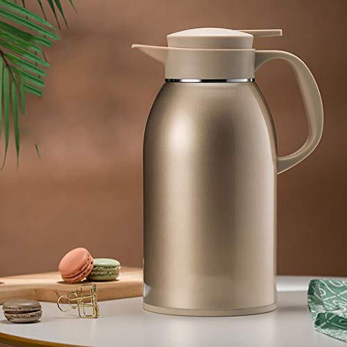 Thermal Carafe,Stainless Steel Coffee Jug, 2.0L Double Walled Vacuum Insulated Jug With Press Button,with Lid ,BPA Free, For Coffee, Tea, Beverage Etc (Color : Gold)