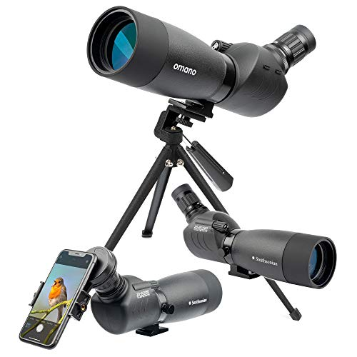 Bird Watching Spotting Scope with Tripod for Adults – Smithsonian Spotting Scope Set w/ 20-60x60 Spotting Scope for Bird Watching, Hiking, Travel – Waterproof Scope– Bird-Watching Guide Included