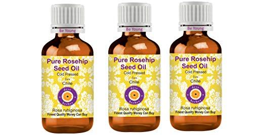 Deve Herbes Aceite de semilla de rosa mosqueta puro (Rosa rubiginosa) 100% natural de grado terapéutico prensado en frío para cuidado personal (paquete de tres) 100 ml x 3 (10 oz)