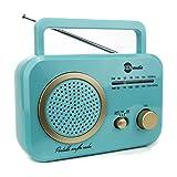 HDi Audio Radio Turquoise/Gold Premium Home Vintage Portable Retro Radio Classic AM/FM Radio with Built in Speakers + Headphone Jack