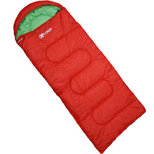 Explorer Active 300 Kinder Schlafsack Deckenschlafsack Kinderschlafsack 175 x 70 cm Sac de Couchage Couverture Mixte Jeunesse, Rouge, ca