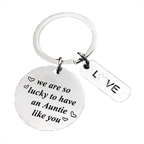 Aunt Auntie Keychain Jewelry Gifts - We are So Lucky to Have an Auntie Like You...