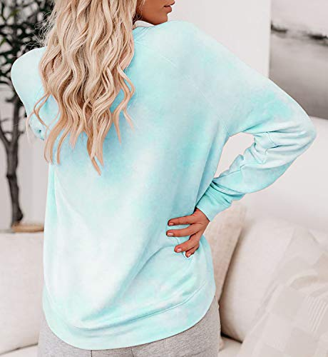 Laseily Women's Tie Dye Sweatshirts Oversized Long Sleeve Crewneck Loose Fit Casual Pullover Shirts Tops