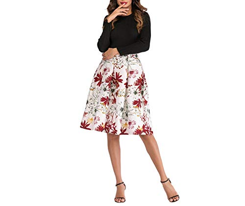 Fall In Love Bloemen Print Rokken Vrouwen Hoge Taille Vintage Rok Elegante Retro Casual Knielengte Een lijn Rok