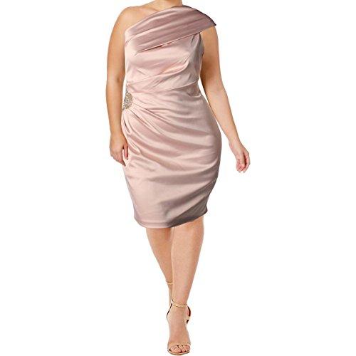 Eliza J Women's One Shoulder Stretch Satin Dress - Pink - 16