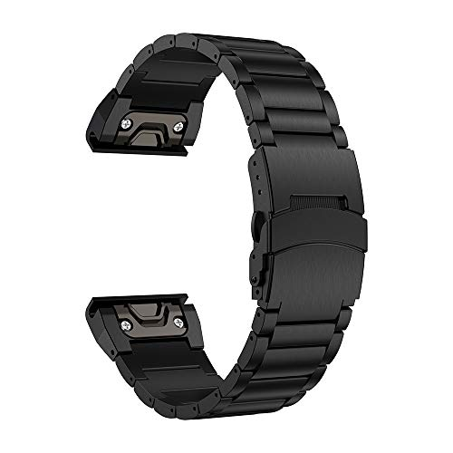 LDFAS Fenix 5 Plus Band, Sport Quick Release Easy Fit 22mm Stainless Steel Metal Strap with Safety Buckle Compatible for Garmin Fenix 5/5 Plus/Forerunner 935/945, Black