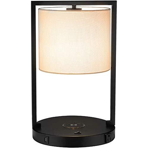 Jsx Nachttischlampe mit USB-Ladeanschluss, Wireless-Ladegerät und Steckdose, White Linen Stoffe und Metall-Tischlampe