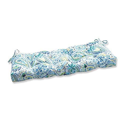Pillow Perfect Outdoor/Indoor Gilford Baltic Tufted Bench/Swing Cushion, 48' x 18', Blue