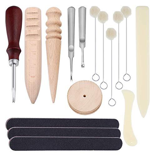 16 Pcs Herramienta de artesanía de cuero - Biseladora de filo de borde, Pulidora pulidora de bordes, Daubers de lana - Kit de Bricolaje