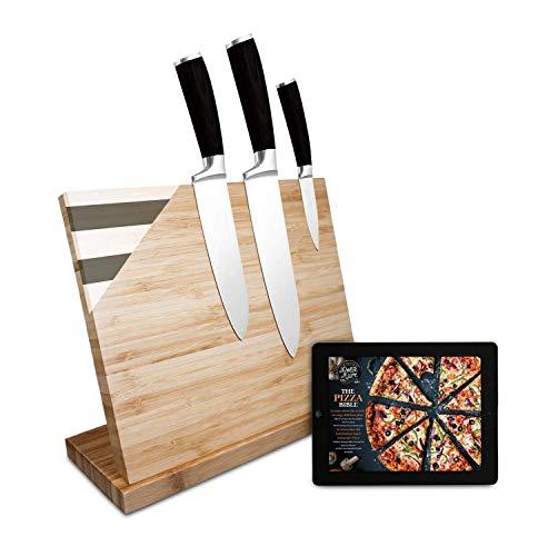 DOLCE MARE Messerblock magnetisch mit extra starken Magnet - XXL Messerbrett für Ihre Küchenmesser oder Besteck - Bambus Messerblock unbestückt ohne Messer - Design Messerleiste