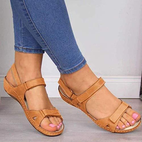 XXXZZL Verano Sandalias de Vestir Mujer Cuero Confort Peep Toe Cuña Sandalias Plataforma Tacón Zapatos para Caminar Informal y Cómodo Velcro Sandalias,Marrón,37EU
