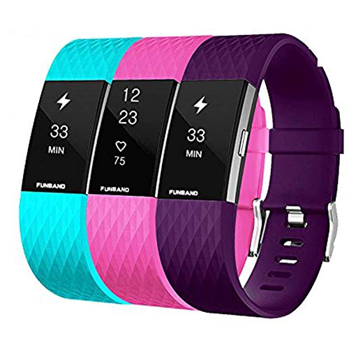 FunBand® Correa para Fitbit Charge 2, Edición Especial Soft Silicona Deportes Recambio de Pulseras Ajustable Reemplazo Accesorios para Reloj Fitbit Charge 2 Pulsera de Actividad Pequeño y Grande